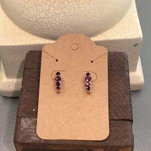 Dark Purple Stones Earrings